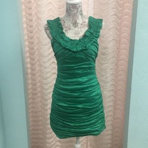 BCBG Green ruched all over Dress